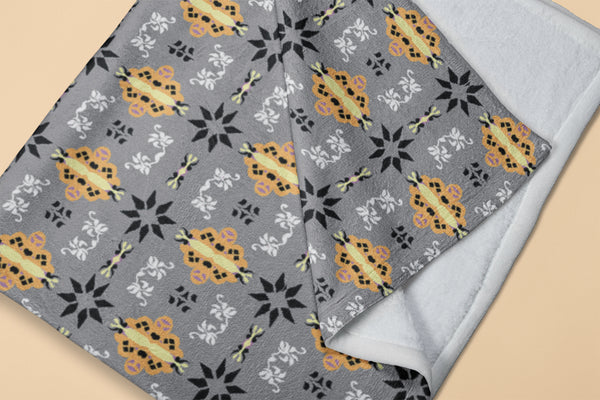 Big Foulard: Orange, Black, White, Muted Yellow on Light Gray Fleece Blanket