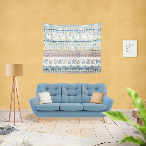 Morning Rise with Animals and Strips: Blue Indoor Hemmed Tapestry