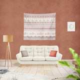 Morning Rise with Animals and Strips: Red Indoor Hemmed Tapestry