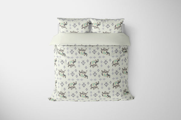 Mughal Elephant Black and Purple on White Comforter