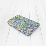 Opal Cross Vertical Diamond Flower: Blue, Light Blue, Orange, Light Green, Bright Green Woven Throw