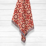 Bold Geo Tri-Color: Orange, Beige, White on Red Woven Throw