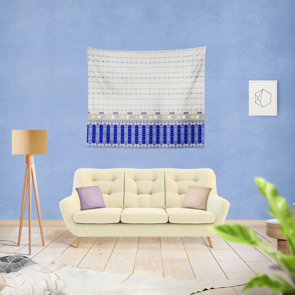 Treasures with Border: Blue Indoor Hemmed Tapestry