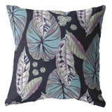Tropical Forest Light Blue and Purple on Dark Blue Decorative Pillow