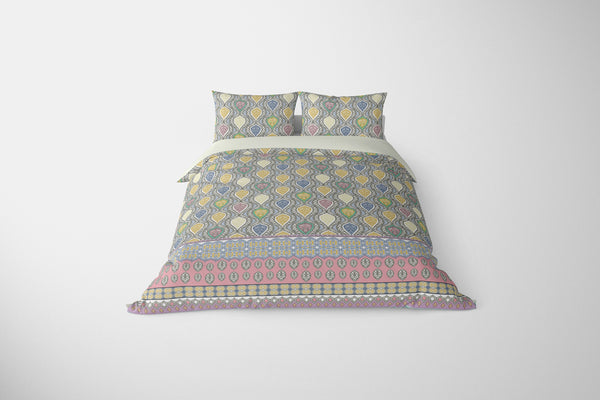 Vine Prism Yellow, Blue, Red, Cream on Blue Comforter