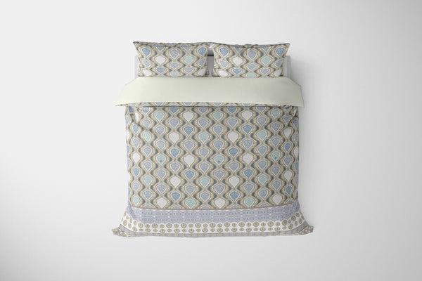 Vine Prism Teal, Blue, Muted Blue on Gray Comforter