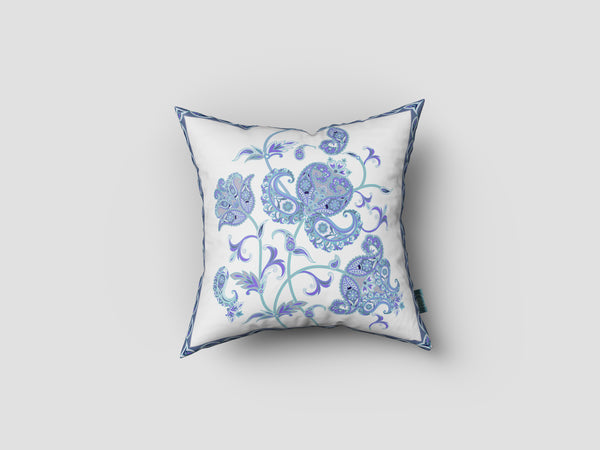 Wild Henna Flower Light Blue Decorative Pillow