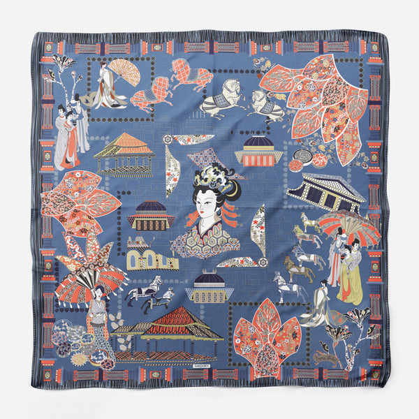 Wu Zetian Navy Blue Empress Collection Silk Scarf