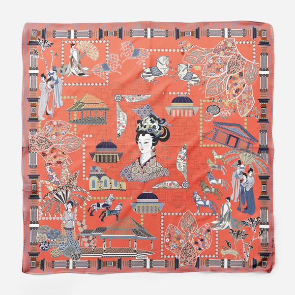 Wu Zetian Orange Empress Collection Silk Scarf