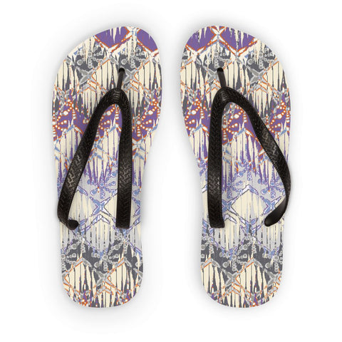Amrita Sen Purple and Yellow Tie Die Flip Flops