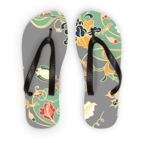 Amrita Sen Carnation Vines Green and Gray Flip Flops