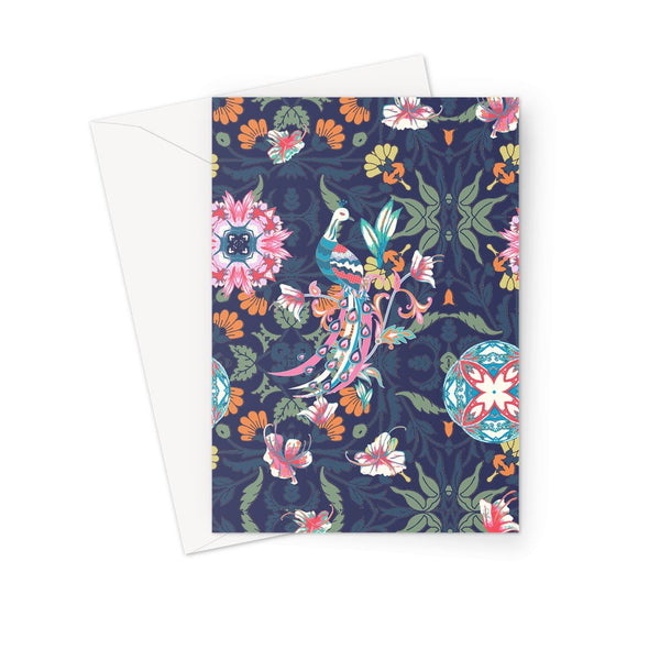 Amrita Sen Boho Flower Indigo Greeting Card