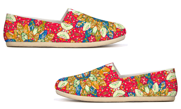 Mosaic Floral Red and Orange by Amrita Sen Canvas Shoe