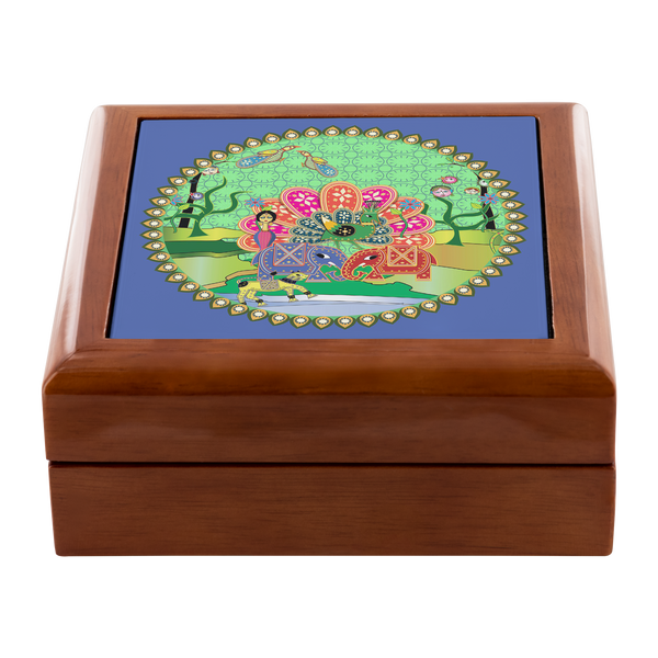Peacock and Two Elephants Jewelry Box
