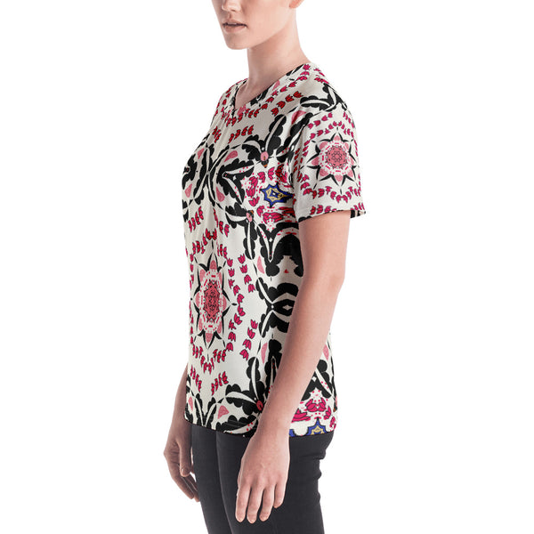 BollyDoll Pink and Black Carnival Geo Women's V-neck