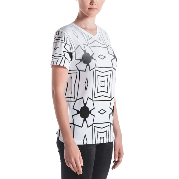 Black and White Squares Jewel V-Neck