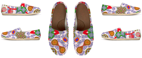 Paisley Pattern Red and Green on White Canvas Shoes by Amrita Sen