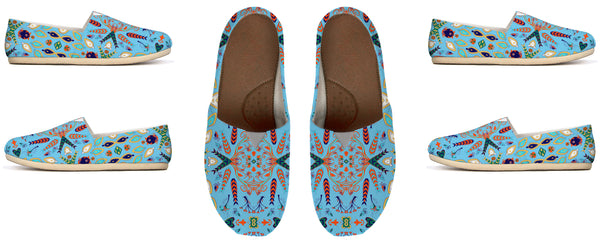 Sword Leaf Hot Light Blue by Amrita Sen Canvas Shoe