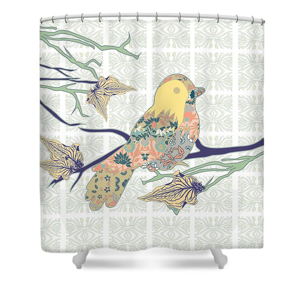 Yellow Masked Bird - Shower Curtain