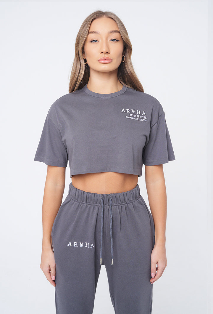 Cool Grey- Crop Top