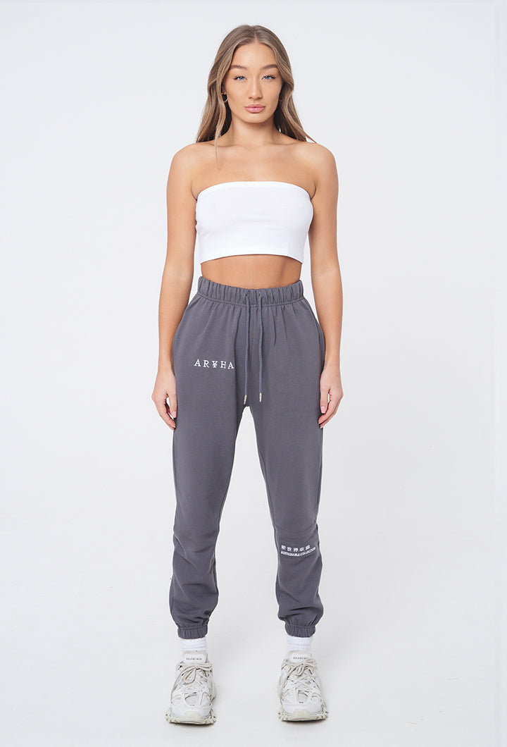 Cool Grey  / White  - Organic Joggers