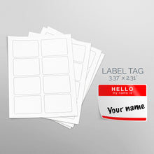 "Load image into Gallery viewer, Picture of Sheets of paper with Die-Cut Rectangles Stickers ""Hello my name is sticker"""