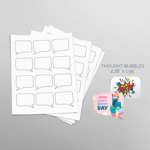 Sheets of paper with Die-Cut Thought Bubbles Stickers