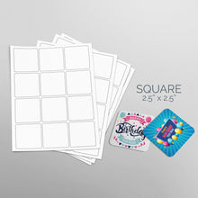 Load image into Gallery viewer, Picture of Sheets of paper with Die-Cut Square Stickers 2x2 in