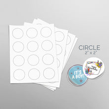 Load image into Gallery viewer, Picture of Sheets of paper with Die-Cut Circles 2x2 in Stickers