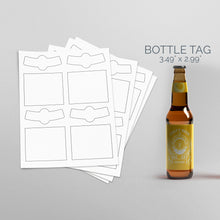 Load image into Gallery viewer, Picture of Sheets of paper with Die-Cut Rectangles and Arc Sticker pack for bottles