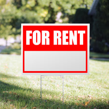 "Load image into Gallery viewer, Picture of a "" for rent"" Yard Sign, printed corrugated plastic"