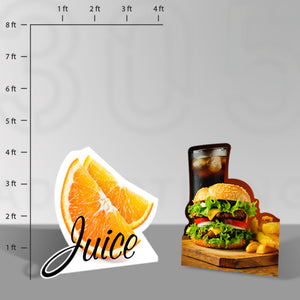 Picture of two stand alone signs, an orange and a hamburger with soda and fries