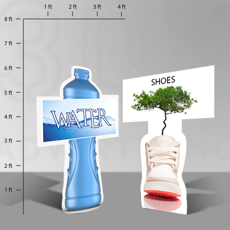 Picture of a bottle of war stand alone sign and a shoe with a tree stand alone sign