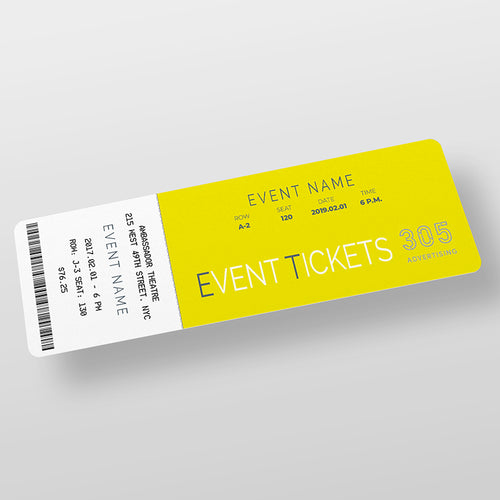 Concert Ticket laying on white background