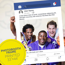 Load image into Gallery viewer, Three members of a basketball team hold a facebook post party frame.