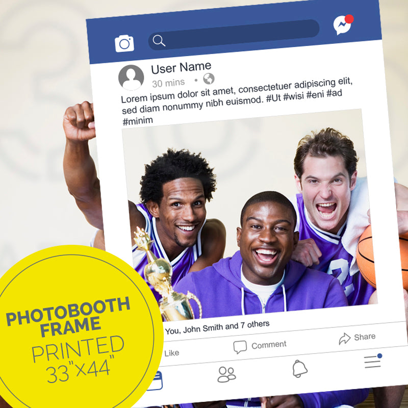Three members of a basketball team hold a facebook post party frame.