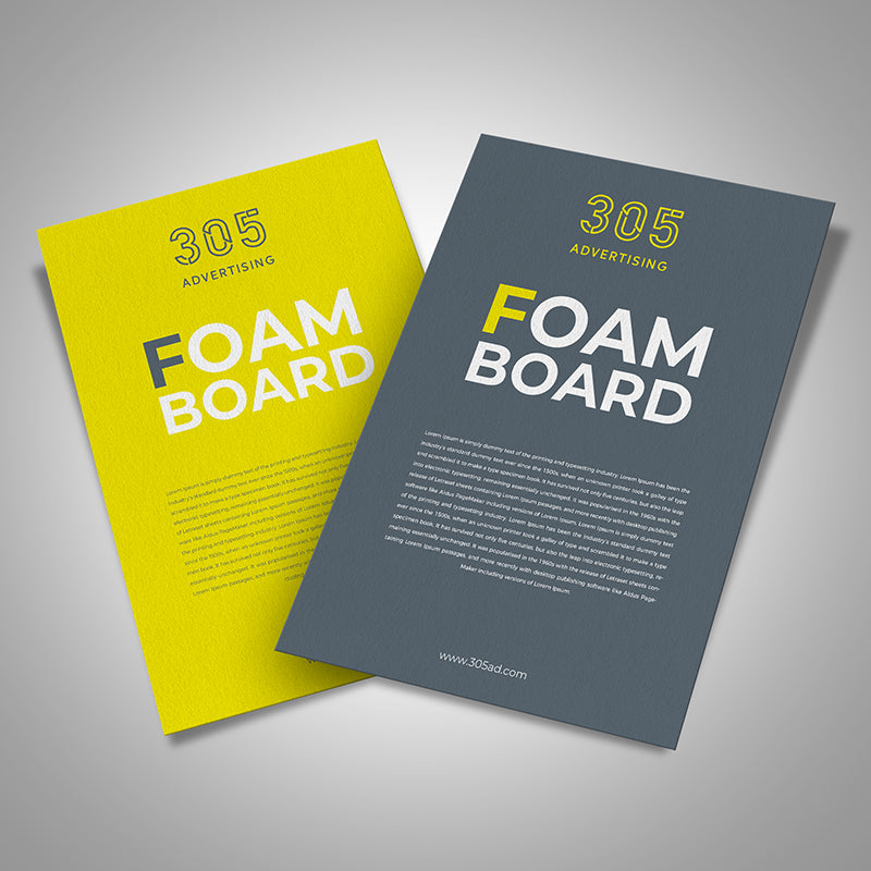 Printed foam board, two foam board signs spread out white background