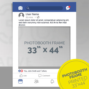 Custom printed Facebook post party frame, photo-booth frame 33x44 inches