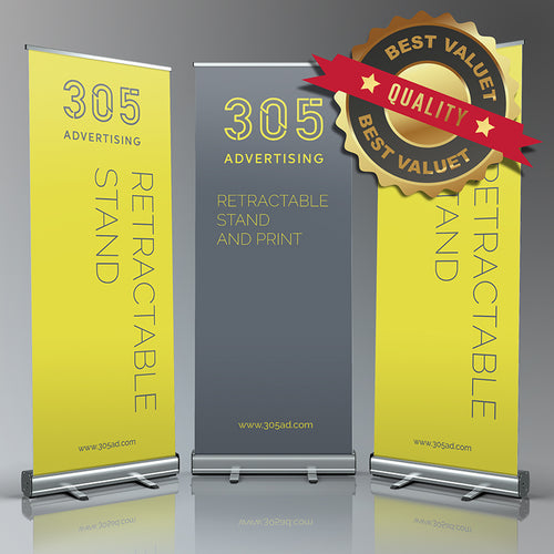 Three banners standing next each other, custom printed banner on roll up stand, best quality, best value seal top right corner