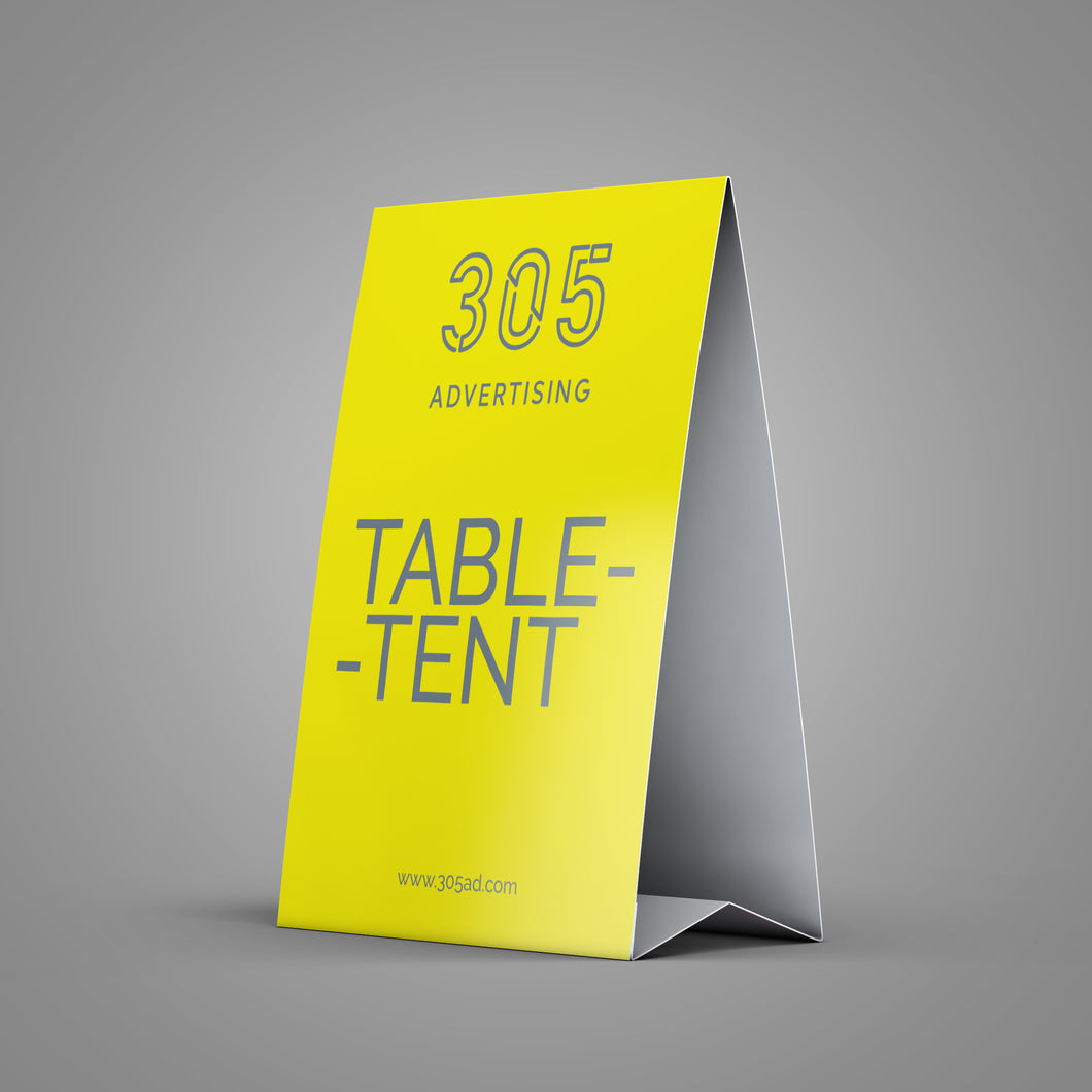 Printed cardstock paper folden into a triangle, forming a table top teepee