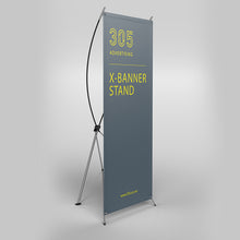 Load image into Gallery viewer, X Banner Stand, printed banner held by x-stand shown from the side
