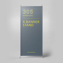 Load image into Gallery viewer, X Banner Stand, printed banner held by x-stand