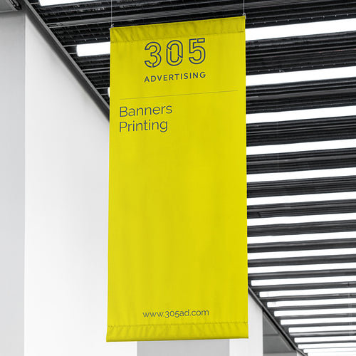 Picture of a printed banner hanging from the ceiling