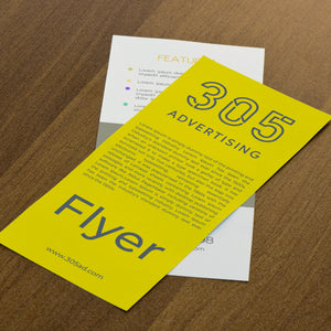Two flyers on top of each other, back and front of flyers, wood table background