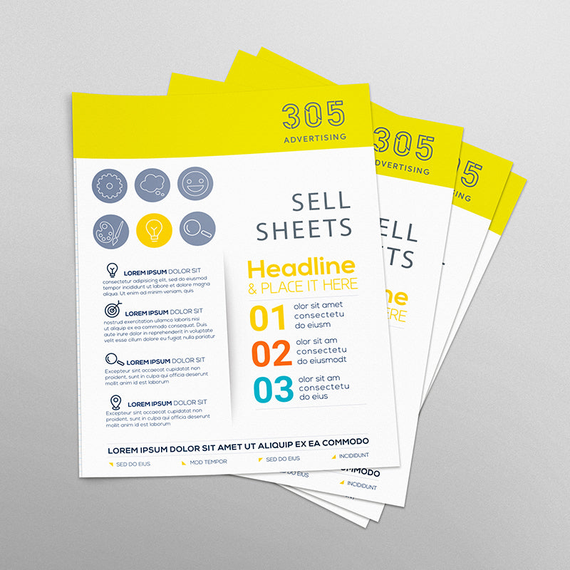 Custom printed sell sheets,  stack of printed sheets