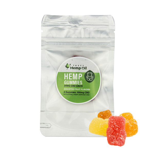 Tasty Hemp Oil –  SAMPLE pack Hemp Gummies 4 Count (25mg Hemp Each) - SalientOils