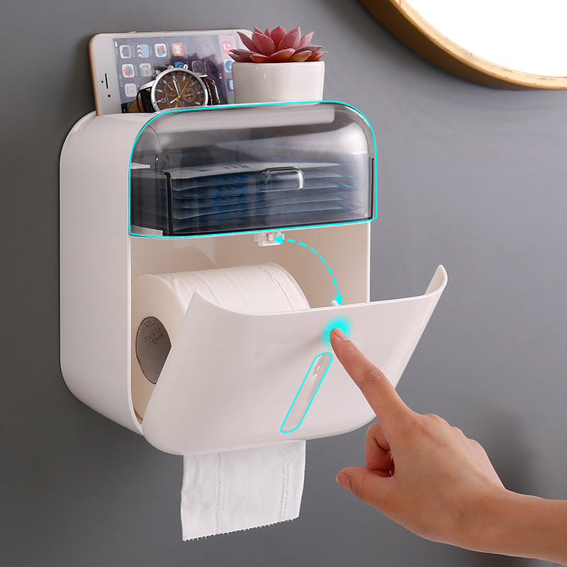 Toilet Paper Holder Wall Mounted Punching Free Installation Tissue Box Waterproof Storage Box