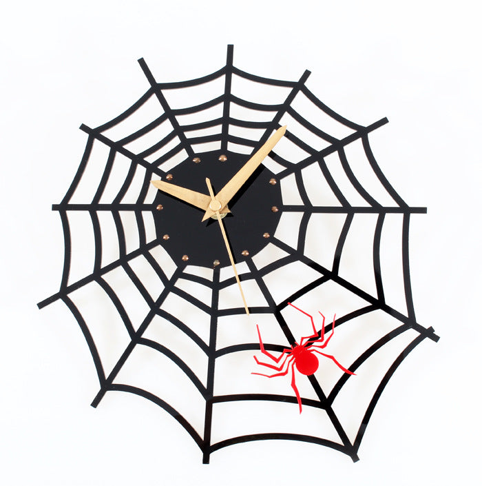 Spider Web Wall Clock Creative Match Black Clock Use For Room Office