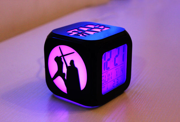 Stereo Small Alarm Clock Mute LED Night Light Electronic Bedside Clock