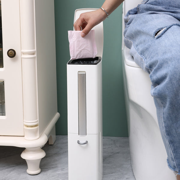 Multi-Functional Trash Can Set with Toilet Brush Garbage Can Wastebasket Easy to Clean Dustbin for Narrow Spaces at Home